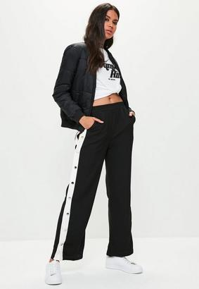 Missguided Black Popper Side Trousers, Black