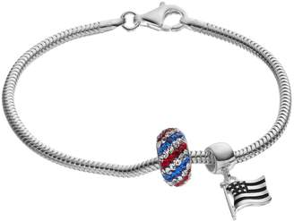 Individuality Beads Sterling Silver Snake Chain Bracelet, Flag Charm & Patriotic Crystal Bead Set