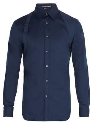 Alexander McQueen Harness Strap Cotton Blend Shirt - Mens - Navy
