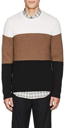 Theory Men's Colorblocked Rib-Knit Wool Sweater - White