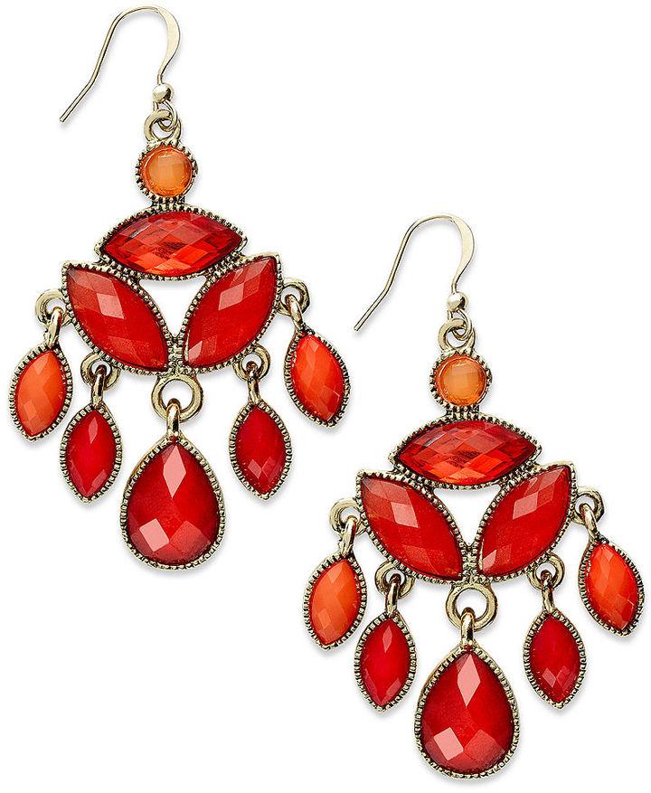 Style&Co. Earrings, Gold-Tone Red and Orange Chandelier Earrings