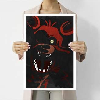 Visionary Prints 'Foxy Print' | Gamer Wall Art - Red Horror Character Art | Modern Contemporary Poster Print, 13x19 inch