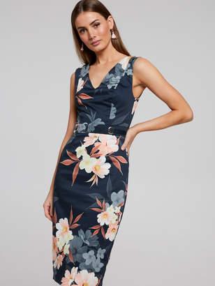 Portmans Australia Peach Blooms Pencil Dress