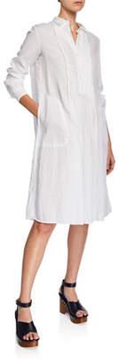 Aspesi Button-Front Long-Sleeve Linen Shirtdress w/ Pintuck Front