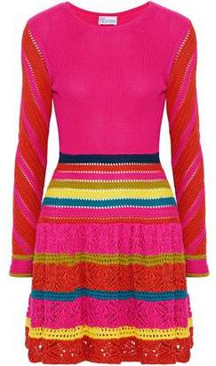 RED Valentino Striped Pointelle-Knit Cotton Dress