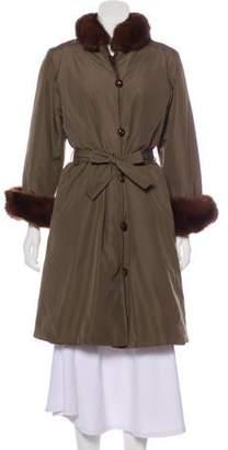 Saint Laurent Silk Sable-Trimmed Coat
