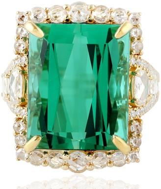 Artisan 18Kt Rose Gold Natural Diamond Tourmaline Gemstone Ring