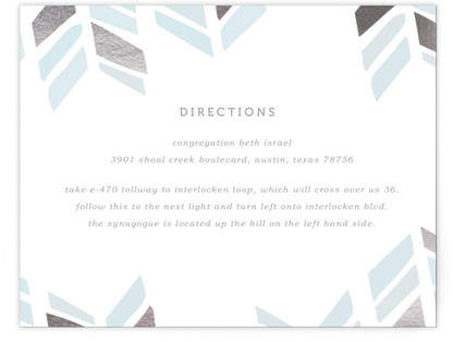 Arrow Head Foil-Pressed Mitzvah Directions Cards