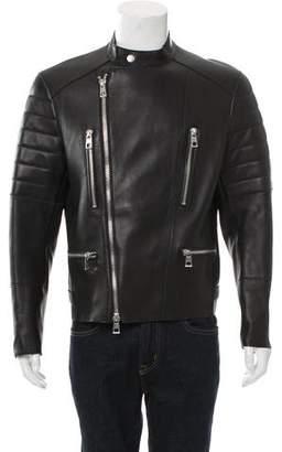 Michael Kors Leather Cafe Racer Jacket