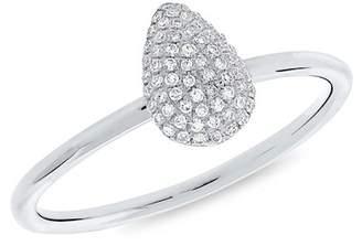 Ron Hami 14K White Gold Diamond Pear Ring - 0.13 ctw - Size 7
