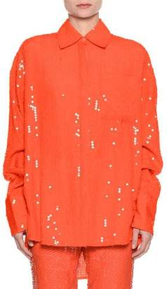 MSGM Neon Oversized Sequin Button-Down Blouse