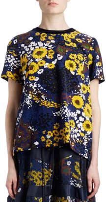 Sacai Crewneck Short-Sleeve Pleated-Back Floral-Print Cotton Tee