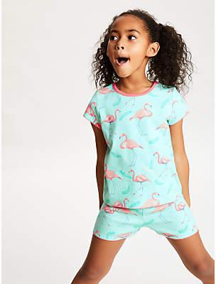 John Lewis   Partners Girls  Flamingo Print Short Pyjamas e87a623d9