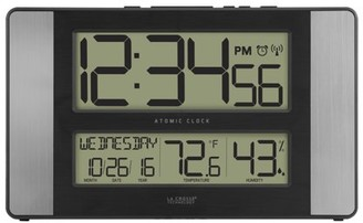 La Crosse Technology 513-1417H-AL Atomic Digital Clock with Indoor temperature & humidity, Aluminum finish