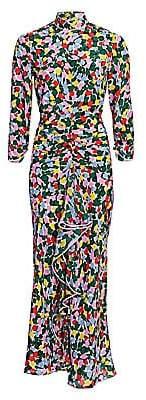 Rixo Women's Lucy Silk Open Back Ruffled Dress