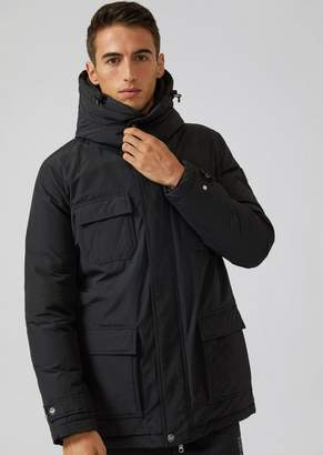 Emporio Armani Ea7 Windproof Technical Fabric Parka With Goose Down Padding