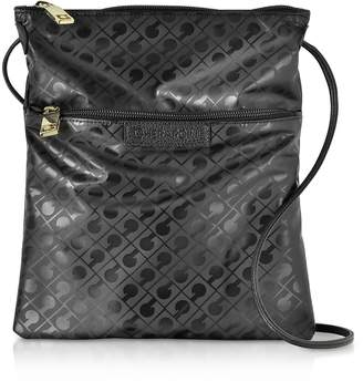 Gherardini Black Signature Coated Canvas and Leather Softy Crossbody Bag w/Zip Front Pocket