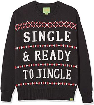 Ugly Fair Isle Unisex Jacquard Single & Ready to Jingle Crewneck Christmas Sweater Black/White/Red Black/White/Red
