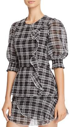 Parker Calli Plaid Peplum Top