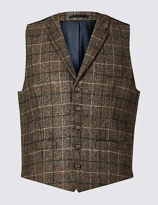 Marks and Spencer Pure Wool Checked Regular Fit Waistcoat