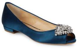Badgley Mischka Taft Open-Toe Leather Flats