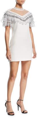 Self-Portrait Pleated Trim A-Line Mini Crepe Cocktail Dress