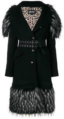 Just Cavalli feather trim fitted coat