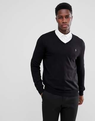 Polo Ralph Lauren Pima Cotton Knit Jumper V-Neck Polo Player in Black