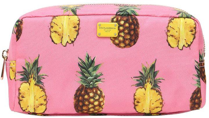 Dolce & GabbanaPineapples Print Nylon Cosmetic Bag