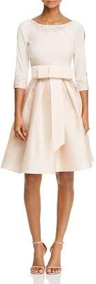 Adrianna Papell Three-Quarter Sleeve Taffeta Bow Dress $160 thestylecure.com