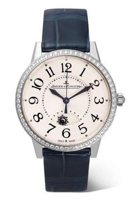 Jaeger-LeCoultre Rendez-vous Night & Day 34mm Stainless Steel, Diamond And Alligator Watch - Silver