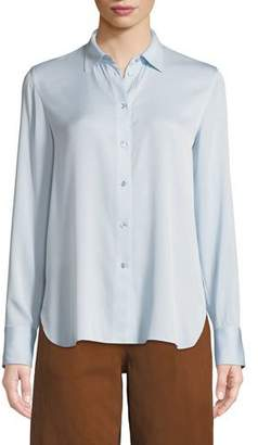 Vince Long-Sleeve Silk Button-Front Top