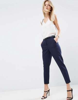 Asos Design The Slim Tailored Cigarette Pants With Belt