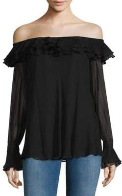Teri Jon Off-The-Shoulder Ruffled Silk Top