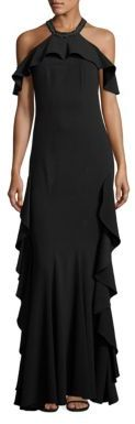 ZAC Zac Posen Ruffled Cold-Shoulder Halter Gown $790 thestylecure.com