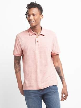 Short Sleeve Polo Shirt in Linen-Cotton