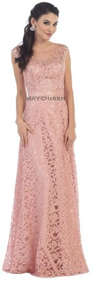 May Queen Beautiful Embroidered and Laced Illusion Bateau Neck Long A-line Dress $179 thestylecure.com