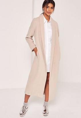 Shawl Collar Faux Wool Maxi Coat Nude $132 thestylecure.com