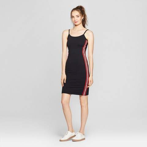 ALMOST FAMOUS Women's Side Taping Midi Dress - Almost Famous (Juniors') Black