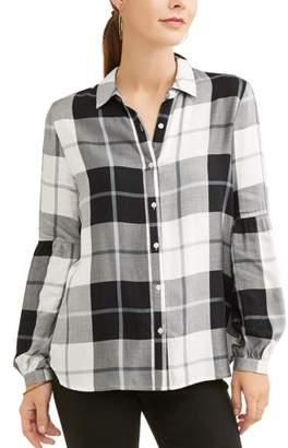 COMO BLU Como Blu Women's Plaid Bubble Sleeve Shirt