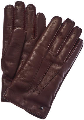 Valentino Studded Cashmere-Lined Leather Gloves