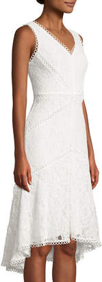 Neiman Marcus Lace Sheath Dress with High-and-Low-Hem, Ivory