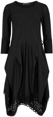 High Praise Pinstriped Draped Jersey Dress