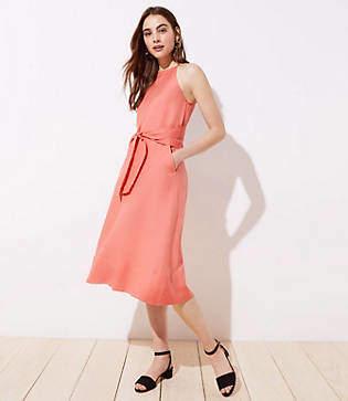 LOFT Petite Linen Blend Halter Dress