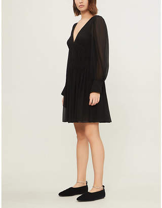 Stella McCartney Ruched-waist silk-crepe de chine dress
