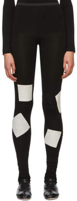 Yohji Yamamoto Black Woven Patch Leggings