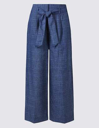 Marks and Spencer Linen Blend Checked Cropped Trousers
