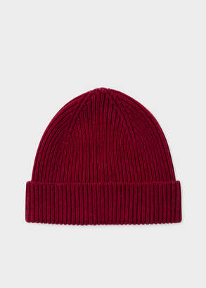 Paul Smith Men's Burgundy Cashmere-Blend Beanie Hat