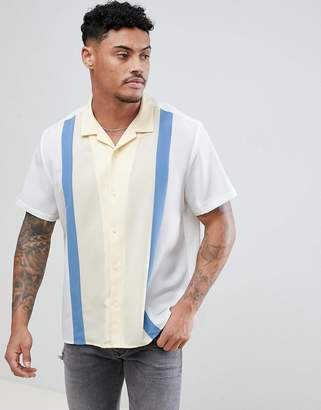 Asos DESIGN regular fit cut and sew shirt with revere collar