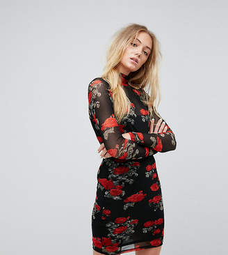 Noisy May Tall Mesh Dress With Rose Print